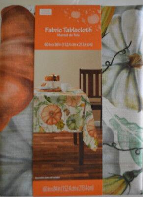 60x84 Fabric Tablecloth - Pumpkin Harvest Fabric Tablecloth Rectangle 52X70, 60X84, 60X102, Round 70