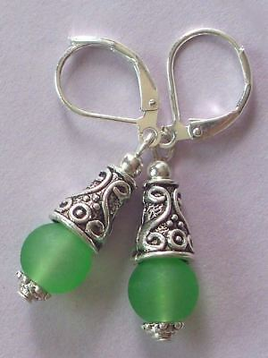 green BEACH SEA FROSTED GLASS drop earring SP HANDCRAFTED
