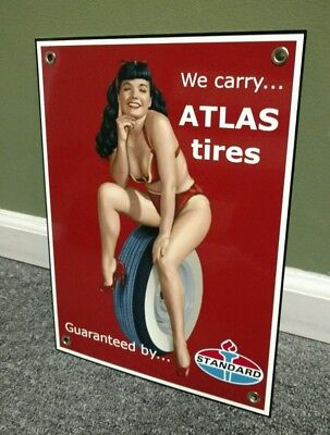 Standard Amoco Atlas Tires girlie sign .. FREE ship on 10 signs