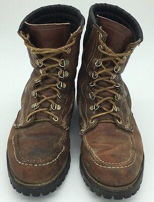 Vintage Moc Toe Loggers Work Boots Leather Vibram Lug Sole Steel Toe 7E Brown Logger Lug Sole Boots