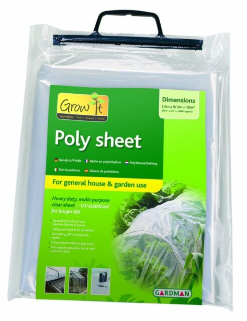 Gardman Plastic Poly Sheet 6m x 2m (280 gauge poly bag) Clear 74000