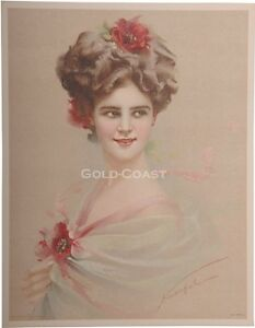 1910-Artist-Signed-Victorian-Litho-Print-Woman-Flowers