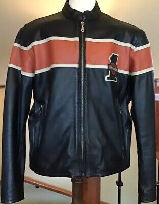 New HARLEY DAVIDSON Men's XL Black Leather 1# Racing Jacket in Mint Condition!