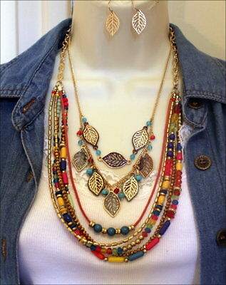 Red Blue Yellow Pink Gold Beads Crystal Leaf Antique Gold Multi Strand Necklace -