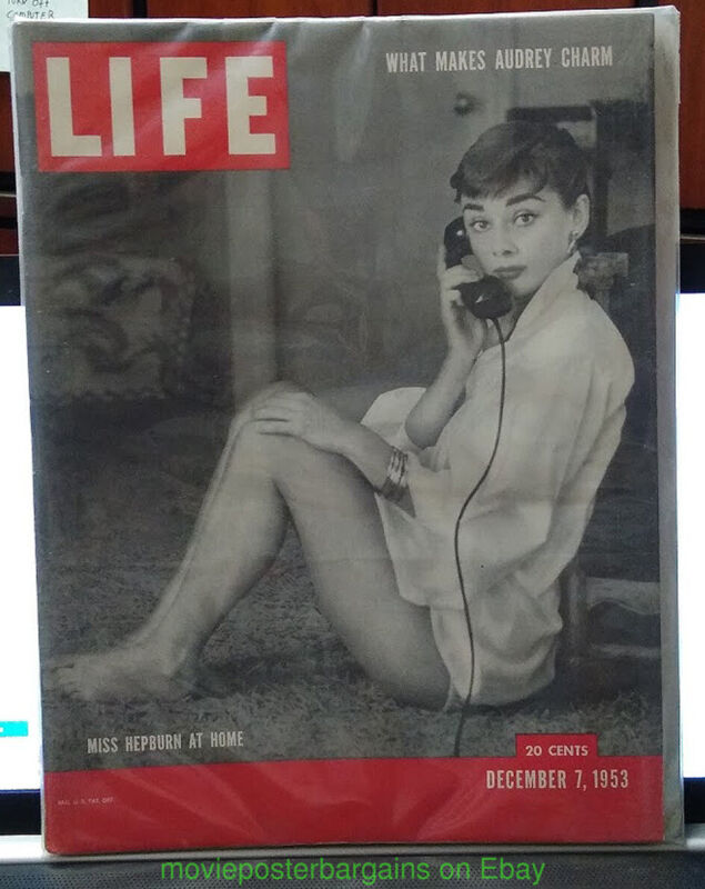 AUDREY HEPBURN LIFE MAGAZINE 1953 Roman Holiday Era Photo  LABEL ON EXAMPLE