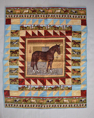 """HORSE THEMED HAND-MADE QUILTED WALL HANGING 34"""" X 28"""" NEW"""