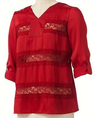 Dana Buchman Red Lace Roll Tab Blouse Top Camisole Cami Set