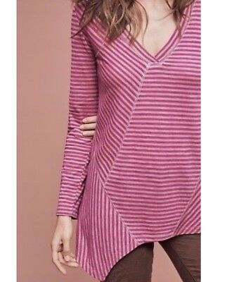 Anthropologie Poshmark 9 H15 Striped Asymmetrical Top Xs Nwt