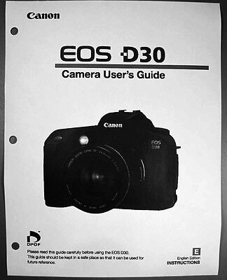 Canon EOS D30 Digital Camera User Instruction Guide  Manual
