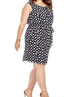 Cap Sleeve Polka Dot Dress - Signature By Robbie Bee Cap Sleeve Blouson Dress In Polka Dot Size 22W - No Belt