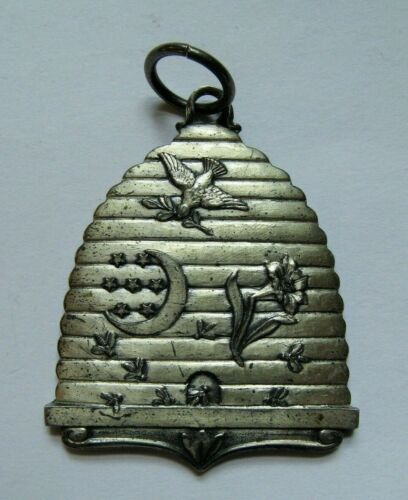 Rare Vintage Sterling Silver Odd Fellows Bee Hive Medallion, FLT, IOOF Fraternal