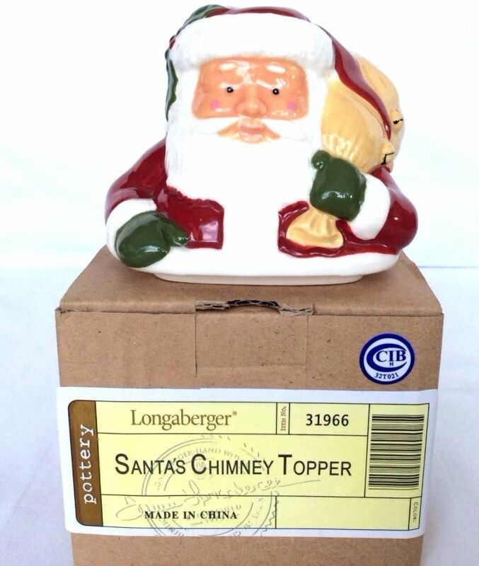 Santa Pottery Chimney Topper Longaberger Decoration New Box Cute gift FREE SHIP