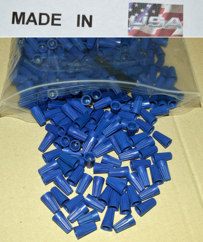 (100) SMALL BLUE WIRE CONNECTORS TWIST ON CONICAL NUTS Made in USA