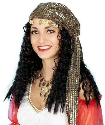 Gypsy Black Wig Hat Scarf Kerchief Gold Coins Costume Accessory Fortune Teller - Womens Gypsy Costumes