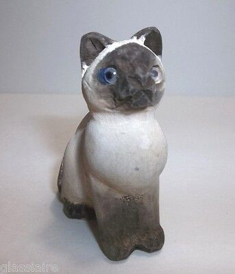 Vintage Carved Wood SIAMESE CAT Christmas Tree Ornament