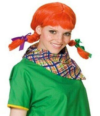 Damen Perücke Rotschopf Zopf Göre Rot Orange Kostüm - Rot Orange Perücke