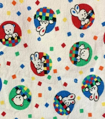 Vintage Blank A Roo Swaddle Receiving Blanket Bunny's Bears Blue Red Flannel