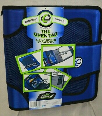 New Case It Velcro Closure 2-inch Ring Binder Expandable Tab File Blue S-816
