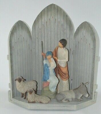 "Willow Tree The Christmas Story Large 24"" Nativity Set Figures Animals Backdrop"