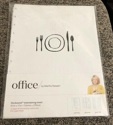 Office By Martha Stewart Discbound Entertaining Insert 8.5 X 11 White