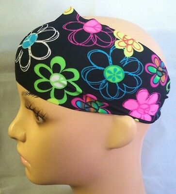 Peace Sign Flowers Bright Multi Colored Wide Headband NWT](Peace Sign Headband)