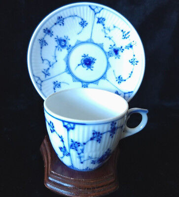 Royal Copenhagen Fluted Floral Lace Demitasse Cup & Saucer Blue with Stand