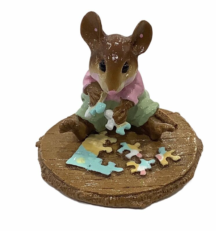 """Wee Forest Folk: """"Puzzled"""" Pink, Green, Collectible, M-320"""