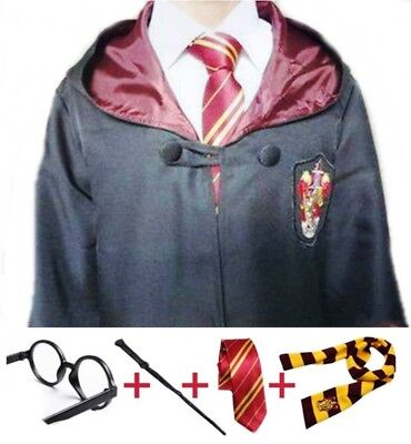 Harry Potter Gryffindor Cosplay with Robe, Wand, Glasses, Tie and Scarf Mult.Siz - Gryffindor Robe And Tie