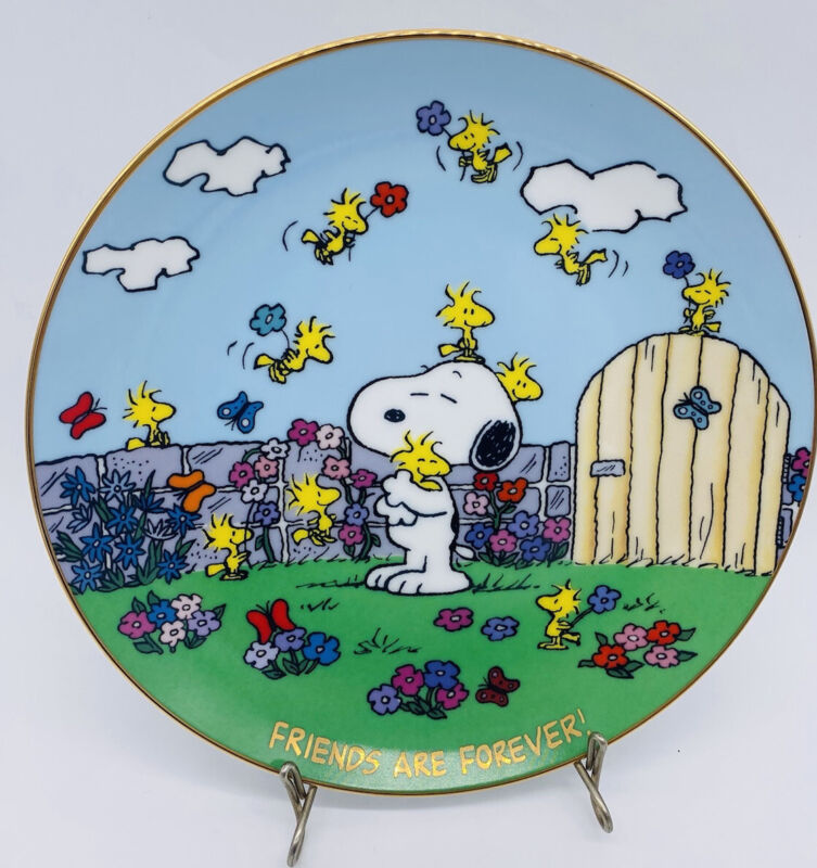Danbury Mint Peanuts Snoopy Collectors Plate Friends are Forever Woodstock