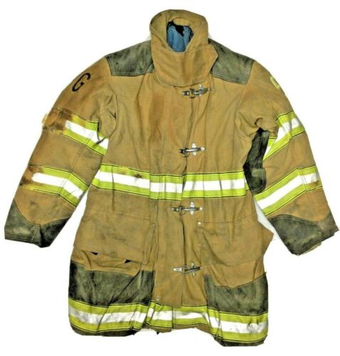 36x35 Globe Firefighter Brown Turnout Jacket Coat with Yellow Tape J906
