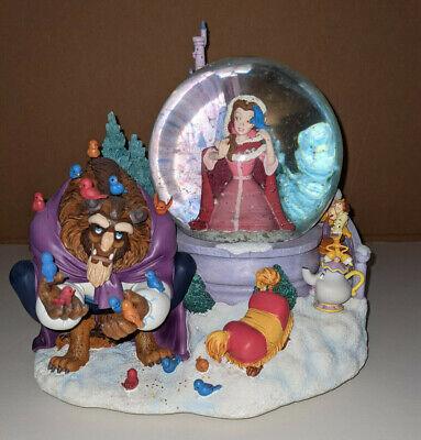 Beauty and the Beast Bird Feeding Snow Globe