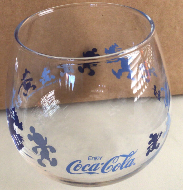 Disney Mickey Mouse Coca Cola Japan Snifter Glass Donald Duck Goofy Found @Japan