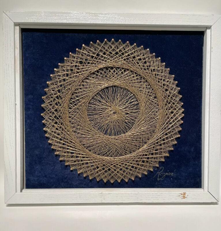 "Wire Metal Gold String Art Mandala Wall Hanging 15""Framed Blue Velvet Signed"