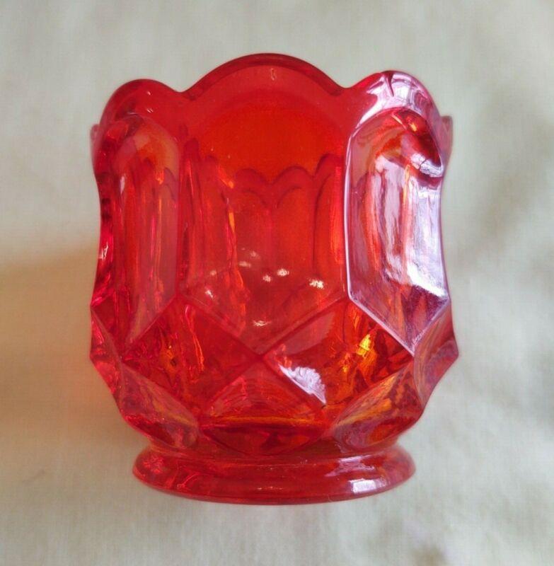 """Vintage """"McKee"""" Glass Toothpick Holder Orange"""