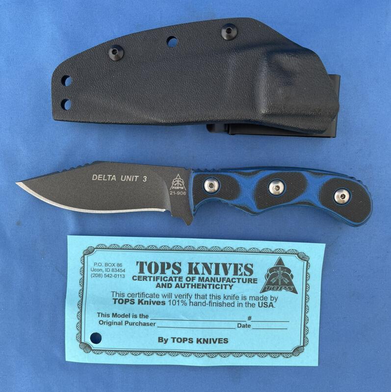 TOPS Delta Unit 3 Knife Tan Blue/Black G-10 1095 Carbon Steel Kydex Sheath USA