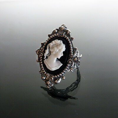 Victorian gothic Cameo ring black filigree silver steampunk wedding SINISTRA