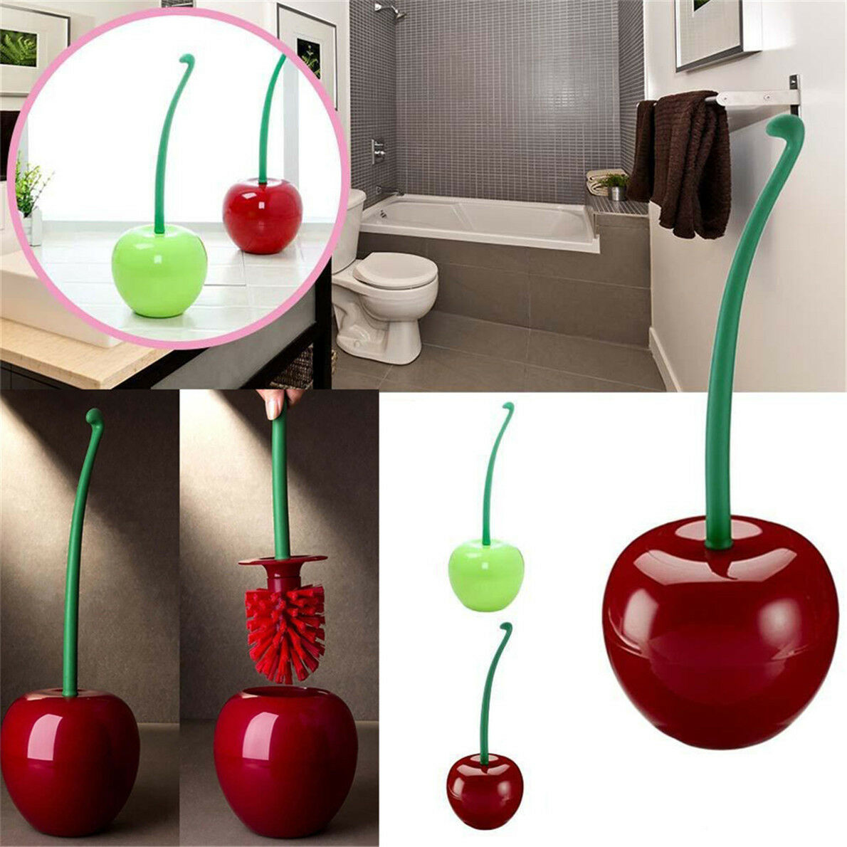 Toilet Set Cleaning Brush Cherry Holder Standing Access Bathroom WC
