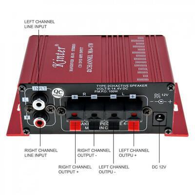 2CH HiFi Digital Power Amplifier Mini Stereo Audio Amp Treble Bass for Car Home