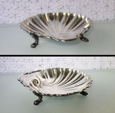 """CLAM SHELL DISH BOWL DOLPHIN FOOTED Silver Plate on Copper 7.5"""" by Crescent Mfg. Silverplate Footed Bowl"""