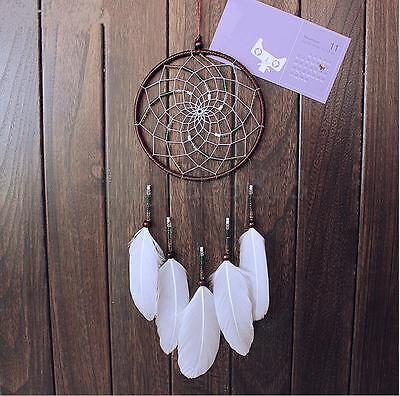 Brown Dream Catcher White Feather Bead Handmade Hanging Dreamcatcher Decor Gift