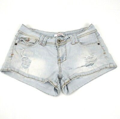 Bongo Womens Jr 7 Booty Jean Shorts Distressed Destroyed Stretch Light Blue   Aa