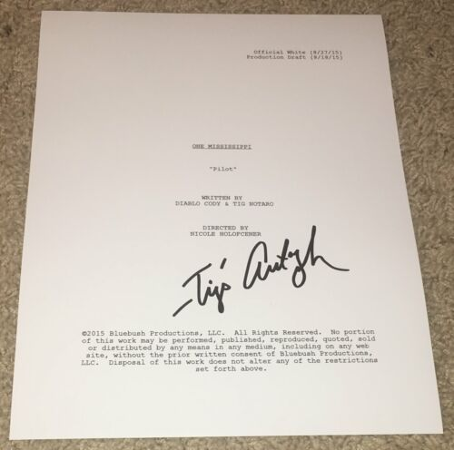 TIG NOTARO SIGNED AUTOGRAPH ONE MISSISSIPPI FULL 32 PAGE PILOT SCRIPT w/PROOF