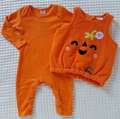 Strampler und Weste Kürbis Set Kostüm Schlafanzug Halloween Karneval Kombiset 62