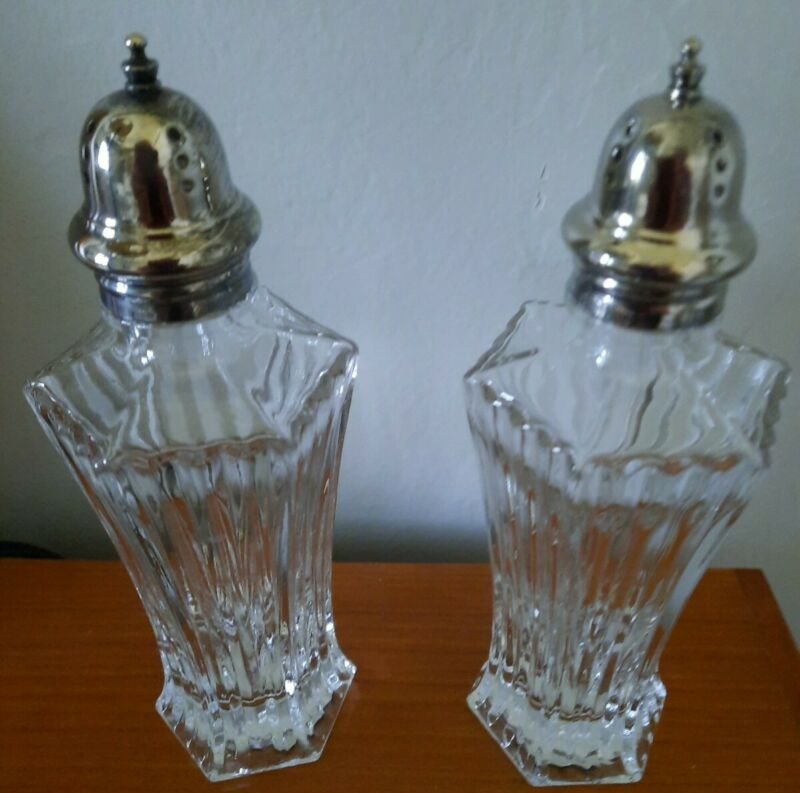 Vintage Mikasa Salt Pepper Shakers Patina Top Clear Glass Diamond Fire Japan