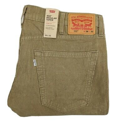 Levi's 502 Corduroy Pants Men's 38x32 Brown Regular Taper Fit MSRP $69.50