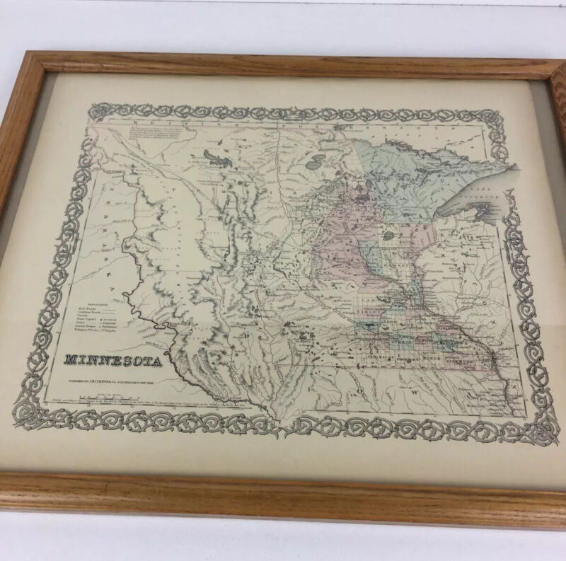 1855 Minnesota Map published by J.H. Colton & Co. New York NOT Reproduction