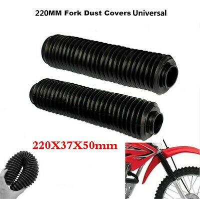 PAIR BLACK MOTORCYCLE FORK RUBBER GAITERS BOOTS GAITOR SIZE 220MM X 37
