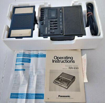 Panasonic Rr-930 Micro Cassette Transcriber Recorder W Box Foot Pedal Manual