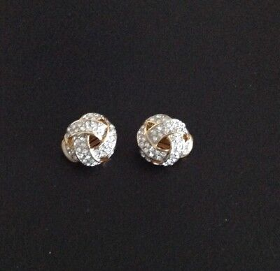 Gold Diamante Clip On Earrings.New.