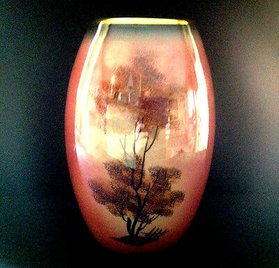 Vtg Pink W/Gold Trim Porcelain W/Tree 8''Tall Vase Marked ''ALFA'' Made in Italy